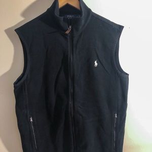 Polo black cotton zip front vest